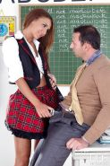 European schoolgirl Alexis Brill giving teacher with large penis oral sex