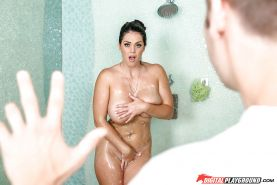 Busty brunette Alison Tyler having sex in shower after being surprised by bf