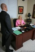 Busty office secretary Abbey Brooks gives a titjob and fucks at work