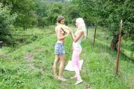 Two skinny lesbians enjoy outdoor pussy licking and kissing
