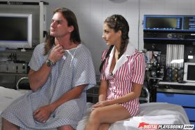 Pigtailed milf Jenna Haze is riding on the hard prick of this man