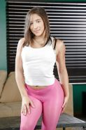 Young pornstar Abella Danger rolls spandex pants and panties over nice ass