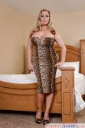 Chunky older blonde Amber Lynn Bach removing cougar print dress