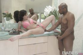 Brunette babe Jennifer White spreads legs for pussy licking from black man