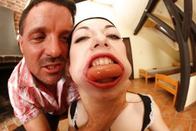 Euro slut Isabella Clar gets her face stuffed full of sausage and cock