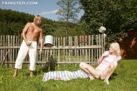 Stunning blonde babe gets pissed on and bonked hardcore outdoor