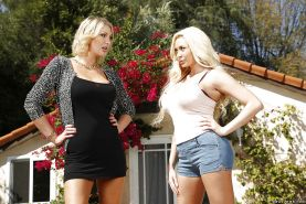 Lesbian outdoor action features milf wifes Leigh Darby and Summer Brielle