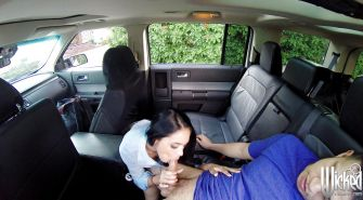 Latina pornstar with brunette hair Jasmine Caro fucks at the back sit of car
