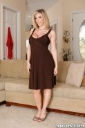 Big busted blonde MILF Sara Jay gets rid of her dress and lingerie