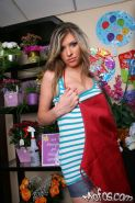 Big titted teen Victoria Lawson strips and poses in a flower shop