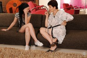 Slutty teen babe Gina Lorenzza has some lesbian fun with her mature friend