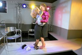 Tatiana Milovani has some fullu clothed pussy lick fun with her friend