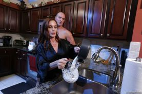 Chesty older MILF Diamond Foxxx giving big cock blowjob in kitchen