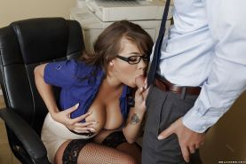 Outstanding office slut Cassidy Banks getting her big tits jizzed on