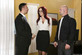 Busty office slut Jayden Jaymes gets her shaved twat drilled hardcore