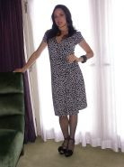 Mature lady in stockings Karen Kougar getting rid of her dress and lingerie