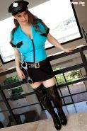 Chesty Euro babe Samanta Lily modeling in police uniform and long boots