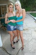 MILF lesbians Tiffany Price and Carly Parker teasing each others pussy
