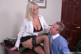 MILF with huge boobs Nikki Benz satisfies a big cock in the office