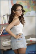 Hot coed in glasses April O'Neil is babe with big boobs and nice ass