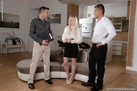 Blonde wife Lola Taylor giving her hubby and his friend a blowjob