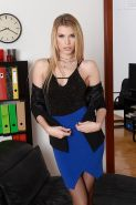 Leggy blonde Euro babe strips down to stockings and high heels in office