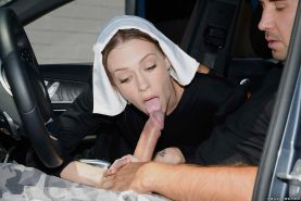 Naughty nun Alexa Nova taking a long cock in her pierced pussy