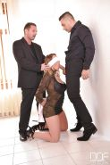 Blindfolded Euro chick Victoria Summers giving BJ with hands bound by rope