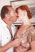Older redhead Liddy receiving oral sex from husband on mature pussy