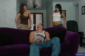 Big guy is being pleased by Alektra Blue and Sara Stone