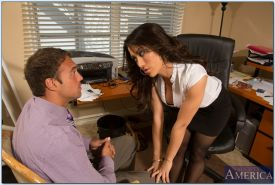 Hot office babe Capri Cavanni gives a blowjob and gets fucked hardcore