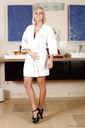 Blonde female Kate England stripping off bath robe and underthings in bathroom