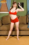 Chubby girl Christy Marks doing aerobics and stripping from shorts and bra