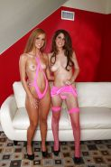 Lusty lesbians Jessie Rogers and Karina White humping pussy in high heels