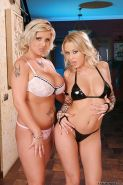 Hot lesbians Mandy Dee and Chintia Flower playing with sex toys