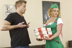 Salacious blonde with shaved cooter gives a titjob and gets screwed tough