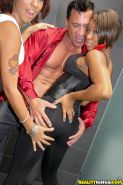Gorgeous ebony babe Imani Rose shares a big white cock with her friend