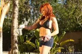 Redhead MILF in bikini Brittany O'Connell has a hard cock in her cunt