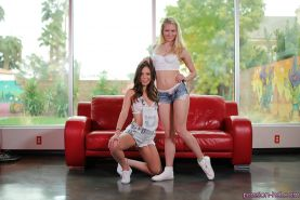 Lesbians Jade Nile and Alli Rae shed shorts to expose tight butts