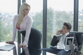 Blonde secretary Victoria Summers seducing office sex in long black skirt