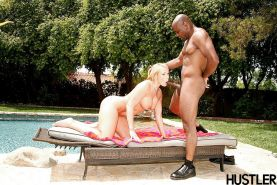 Chesty blonde chick Mellanie Monroe getting face fucked by BBC outdoors