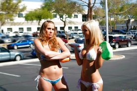 Jessica Lynn and Alanah Rae in bikini met a monster cock for an orgy