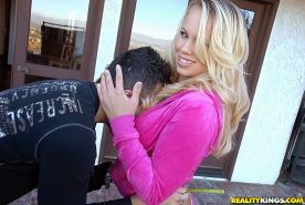 Hot MILF Britney Young gets a cumshot on her boobs after hardcore fucking