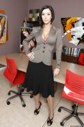 Hot office MILF Dylan Ryder strips off lingerie and nylon pantyhose