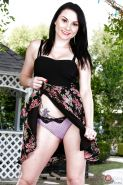 Brunette solo girl Veruca James unveiling big boobs and pussy outdoors