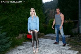 Sexy blonde in latex pants sucking hard cock in hot reality fuck scene
