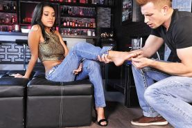 A guy with a foot fetish enjoys Josie Jagger's sexy Latina feet