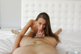 Skinny cutie Kacy Lane is giving a deep blowjob and swallowing