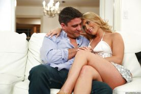 Blond slut AJ Applegate takes cumshot on pink tongue from two cocks at once