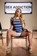 Blonde pornstar AJ Applegate pulls off white panties to model nude in heels